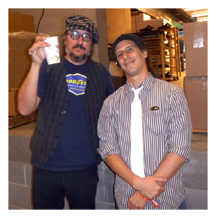 Les Claypool of Primus and Drew Blanke (Dr Blankenstein) backstage at MoogFest 2012